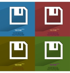 Color set floppy disk flat modern web button with vector