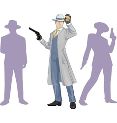 Caucasian police chief and people silhouettes vector