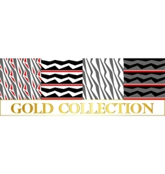 Patterns set broken gray stripes with red patches vector image