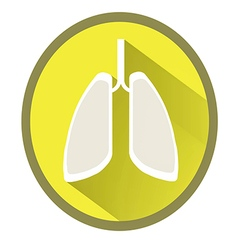 Lungs flat icon with long shadow vector