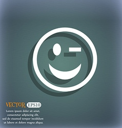 Winking face icon symbol on the blue-green vector