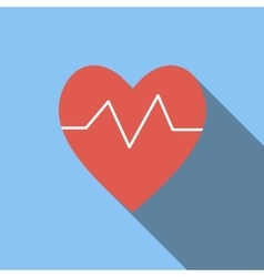 Heartbeat flat icon vector