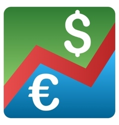 Euro dollar forex market gradient icon vector