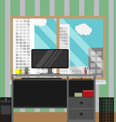 Work place with view window business building vector