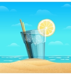 Glass with lemonad on sea background vector