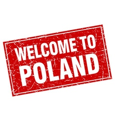 Poland red square grunge welcome to stamp vector