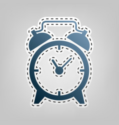 Alarm clock sign blue icon with outline vector