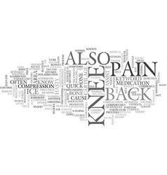 Back of knee pain text word cloud concept vector