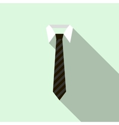 Black necktie on a shirt collar icon flat style vector image