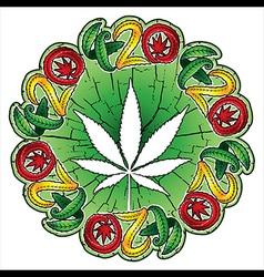 Cannabis hemp white leaf textured background vector image vector image