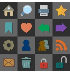 Collection of internet icons color flat design vector image