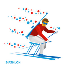 disabled biathlon skier with a rifle vector image vector image