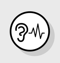 Ear hearing sound sign flat black icon in vector