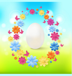 Easter eggs with colorful flowers butterflies on vector