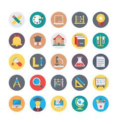 education flat circular icons 1 vector image vector image