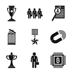 Experienced employee icons set simple style vector