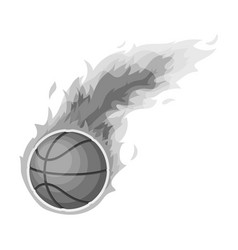 fireballbasketball single icon in monochrome vector image vector image