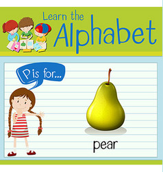 Flashcard letter p is for pear vector
