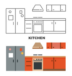 flat kitchen concept isolated on white background vector image vector image