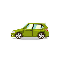 green car hatchback side view transport for vector image