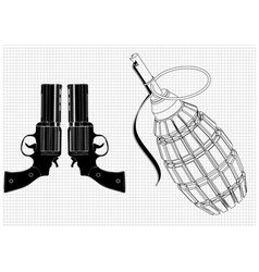 Grenade and two pistols on a white vector
