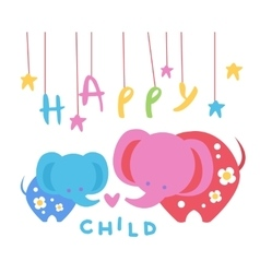 Happy child backdrop with elephants vector