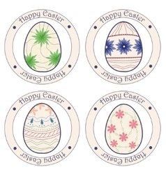 Happy Easter vintage stickers with eggs vector image vector image