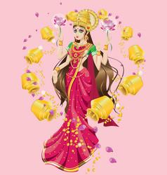 Hindu goddess lakshmi vector