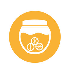 Mason jar with oranges isolated icon vector