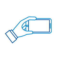 mobile phone in hand showing device vector image
