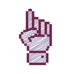 outline pixelated hand pointing up with stripeds vector image vector image
