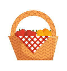 Picnic basket with food vector
