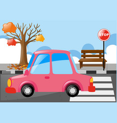 pink car on the road vector image