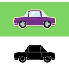 Retro car icon and silhouette vector image