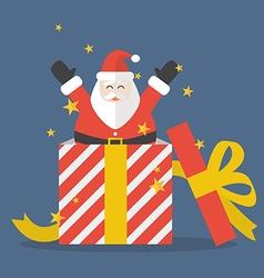 Santa claus out of big gift box vector image