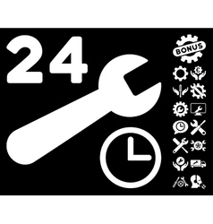 Service Hours Icon with Tools Bonus vector image vector image