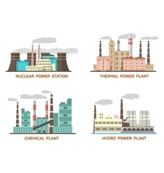 Set of industrial flat of vector image