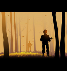 Silhouette of soldiers vector