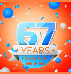 Sixty seven years anniversary celebration vector