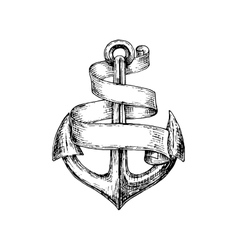 Sketch of old heraldic anchor with paper scroll vector image vector image