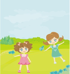 Sweet happy little girls with flowers in the park vector