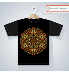 T-shirt design with bright symmetric pattern vector