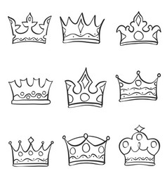 Various style crown hand draw doodles vector