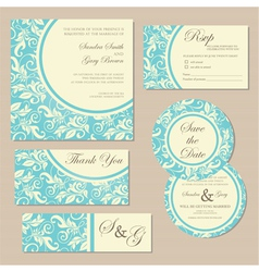Wedding invitation blue set vector