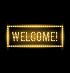 welcome neon light title realistic vector image vector image