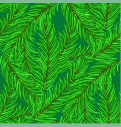 Winter fir green branches seamless pattern vector