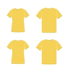 Yellow short sleeve t-shirts templates vector image