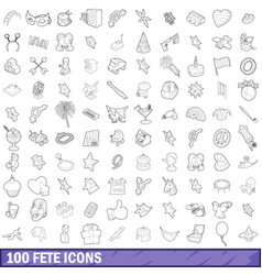 100 fete icons set outline style vector
