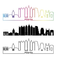 Atlanta V2 skyline linear style with rainbow vector image