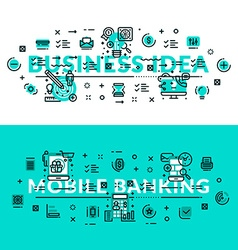 Business idea and mobile banking heading title web vector